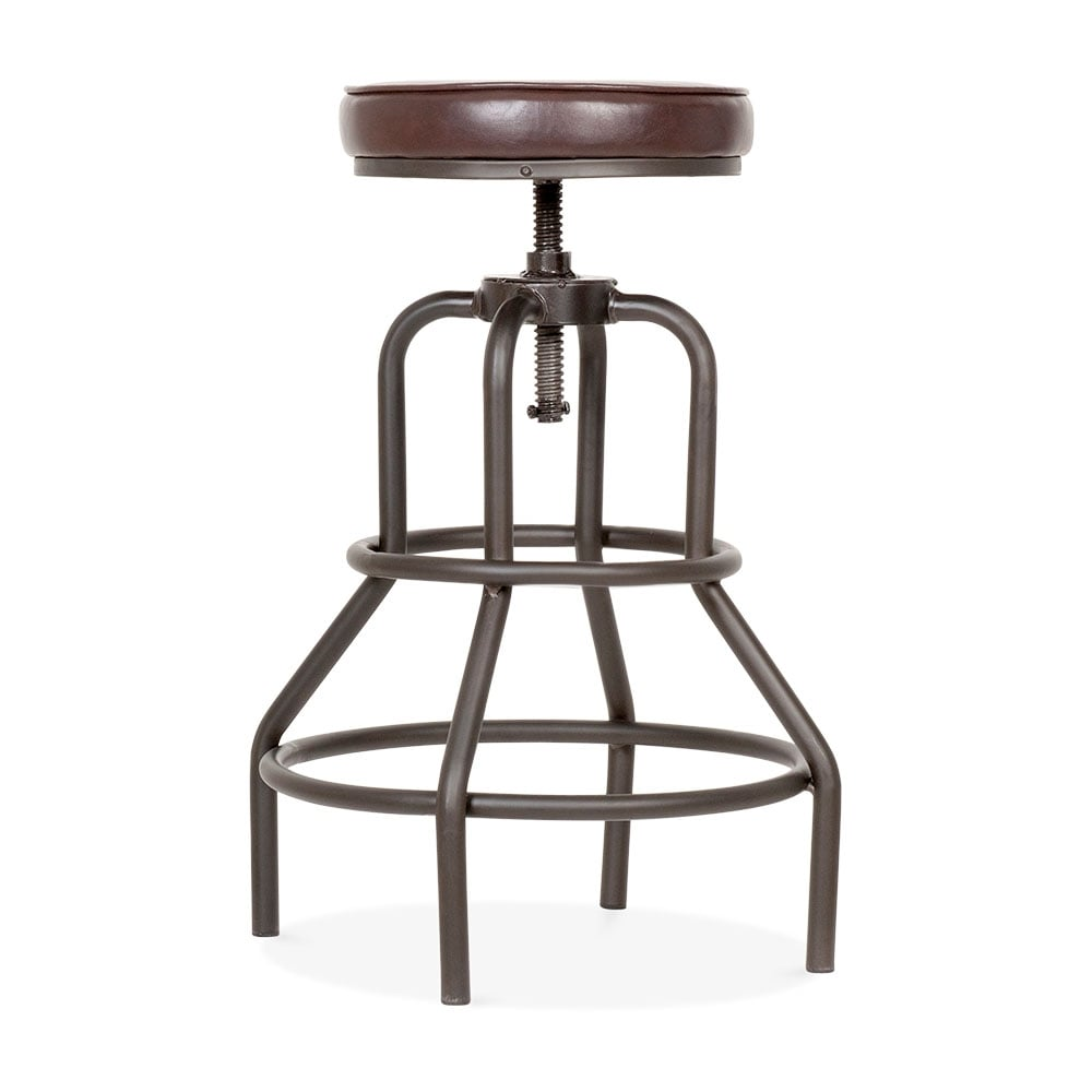 Jet metal swivel bar stool faux leather brown