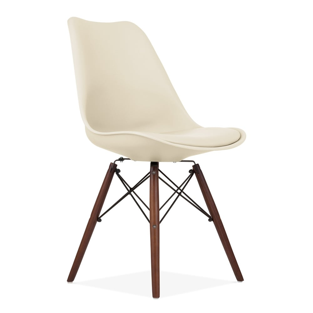 Clearance Dining Chairs: Cream Soft Pad Dining Chair With DSW Style Wood Legs