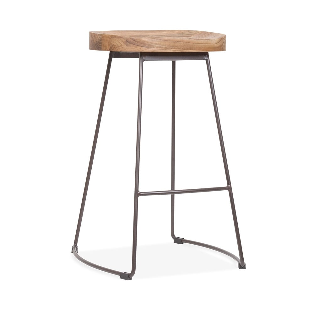 cult living victoria metal bar stool with wood seat option rustic 65cm u2039