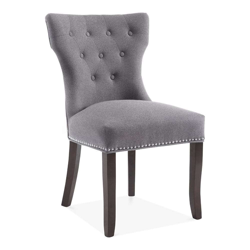 Amazing Cult Living Regent Button Back Dining Chair, Wool Upholstered, Grey