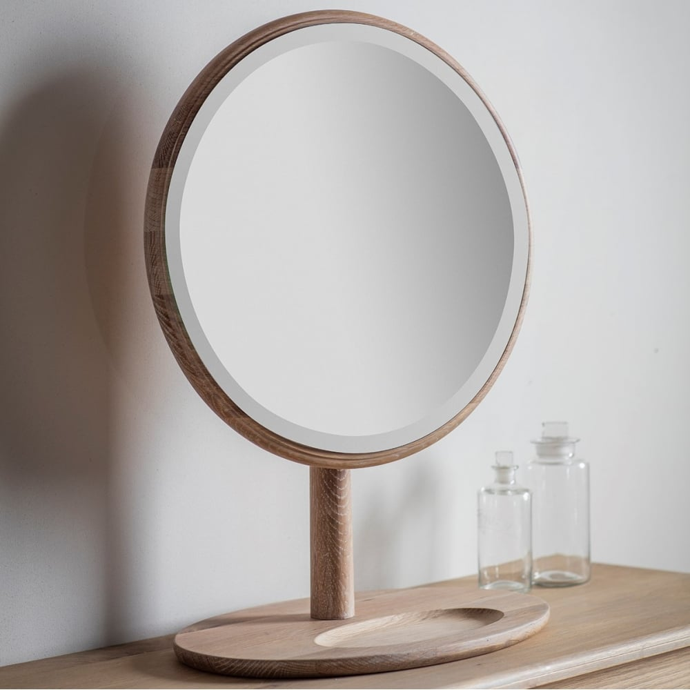 Alpine Round Dressing Table Mirror Solid Oak Cult Furniture