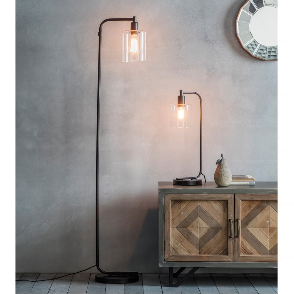 newton industrial metal standing floor lamp black modern lighting. Black Bedroom Furniture Sets. Home Design Ideas