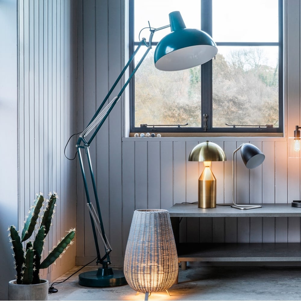 aldwych retro hinged floor lamp teal contemporary lighting. Black Bedroom Furniture Sets. Home Design Ideas