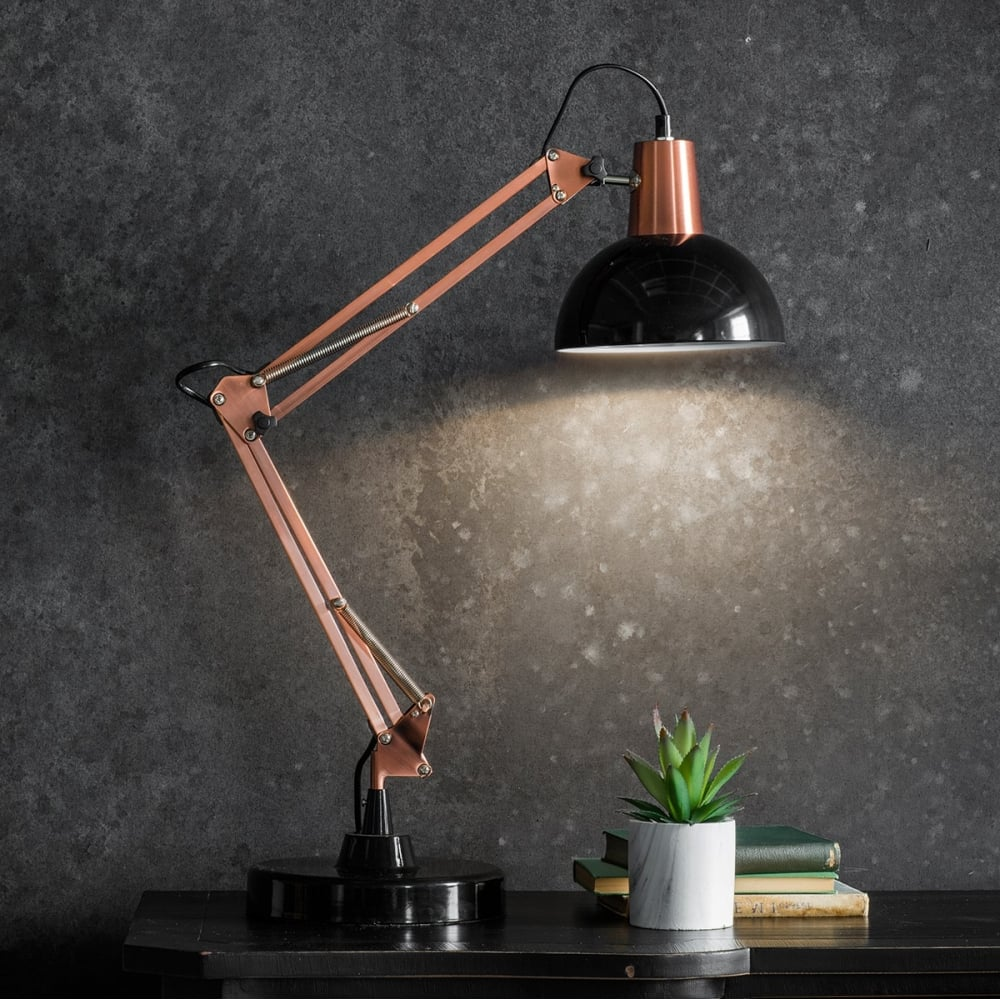 aldwych retro hinged desk lamp black contemporary table lamps. Black Bedroom Furniture Sets. Home Design Ideas