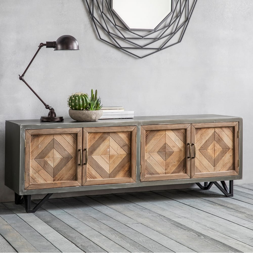 chevron industrial sideboard metal oak sideboards. Black Bedroom Furniture Sets. Home Design Ideas