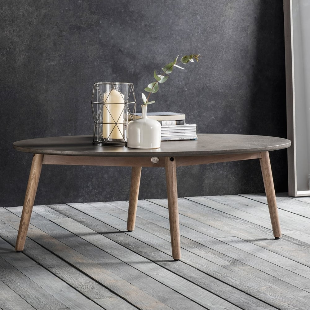 Brooklyn oval coffee table concrete modern coffee side for Contemporary oval coffee tables