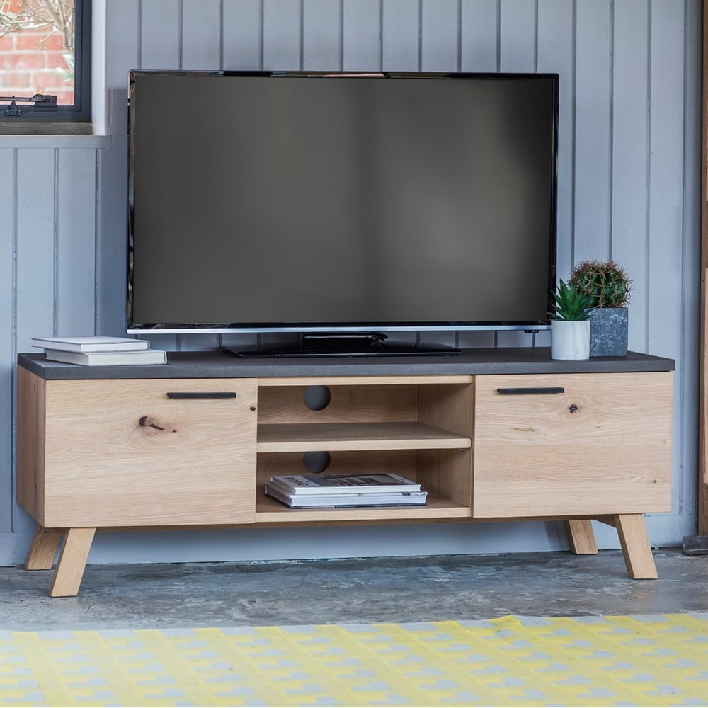 Verita Modern Tv Unit Oak Concrete Tv Stands Media Units # Wooden Art Meuble Tv