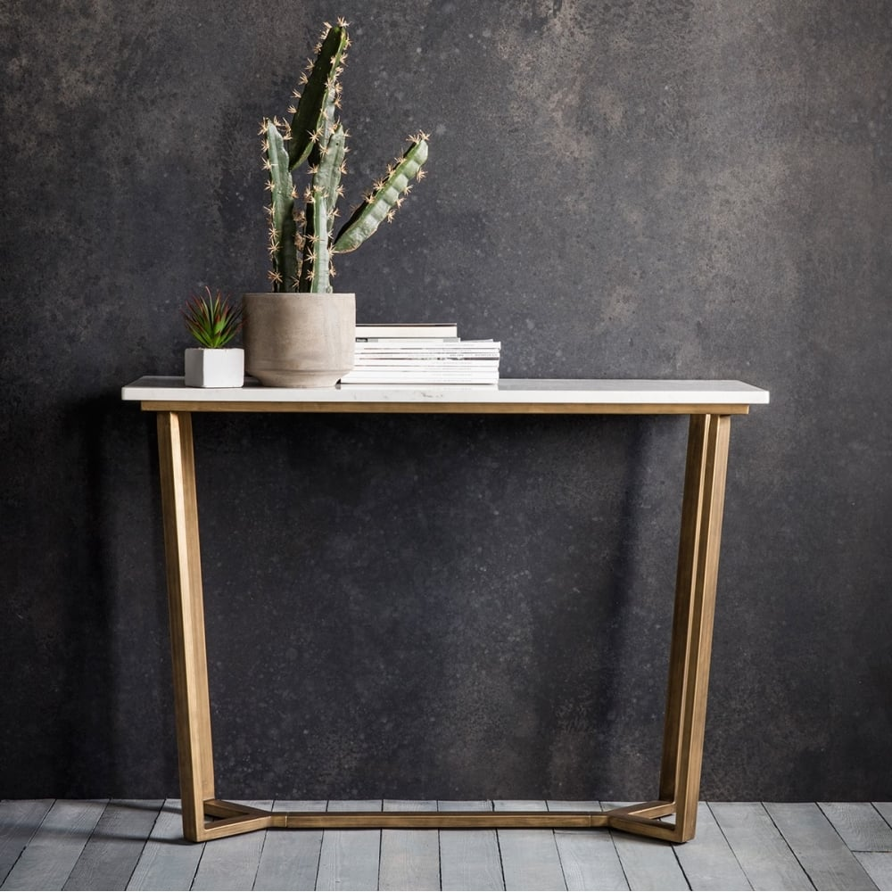 gatsby marble console table white  gold  console  hall tables - gatsby contemporary marble console table white and gold