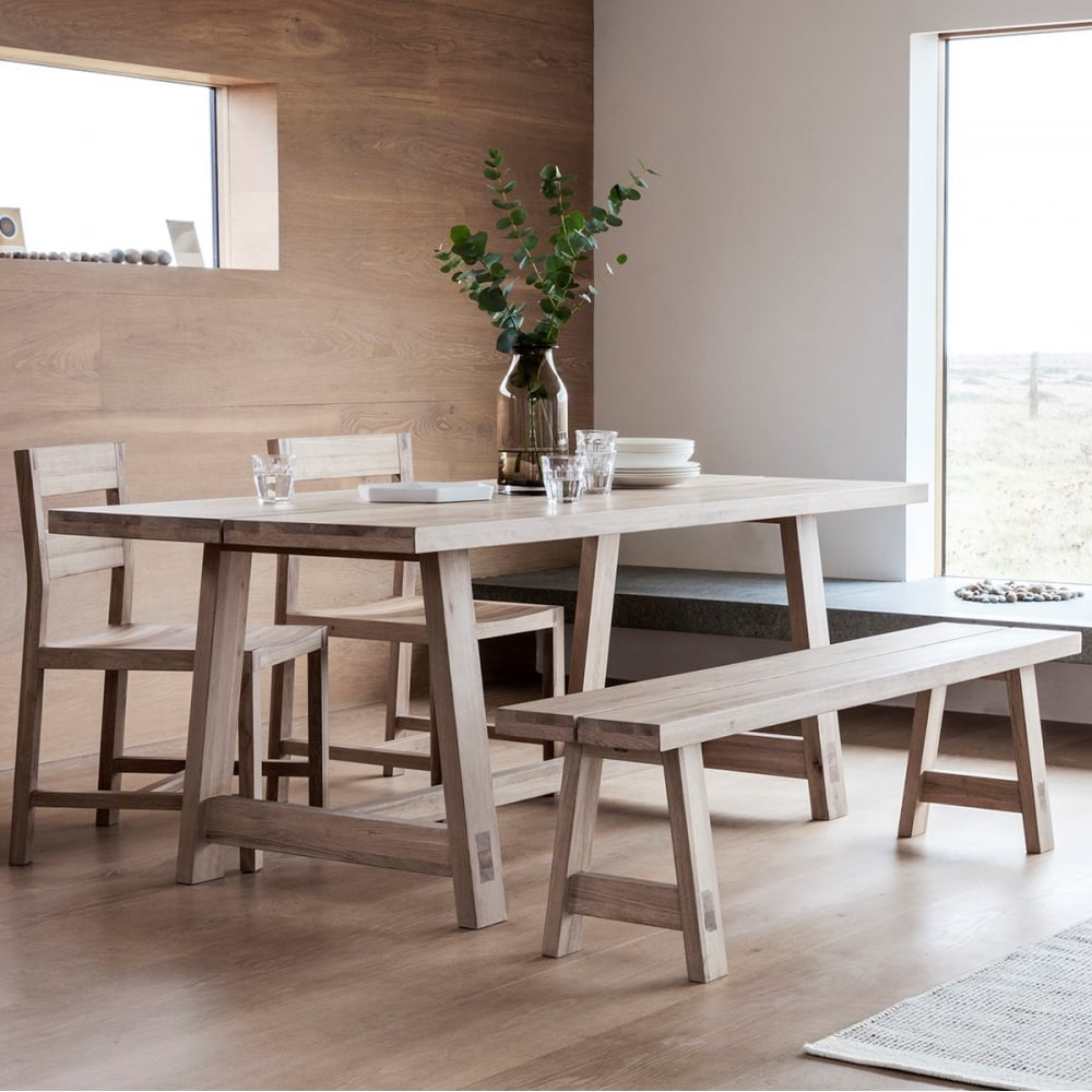 Waldorf contemporary oak dining table oak dining furniture for Contemporary oak dining chairs