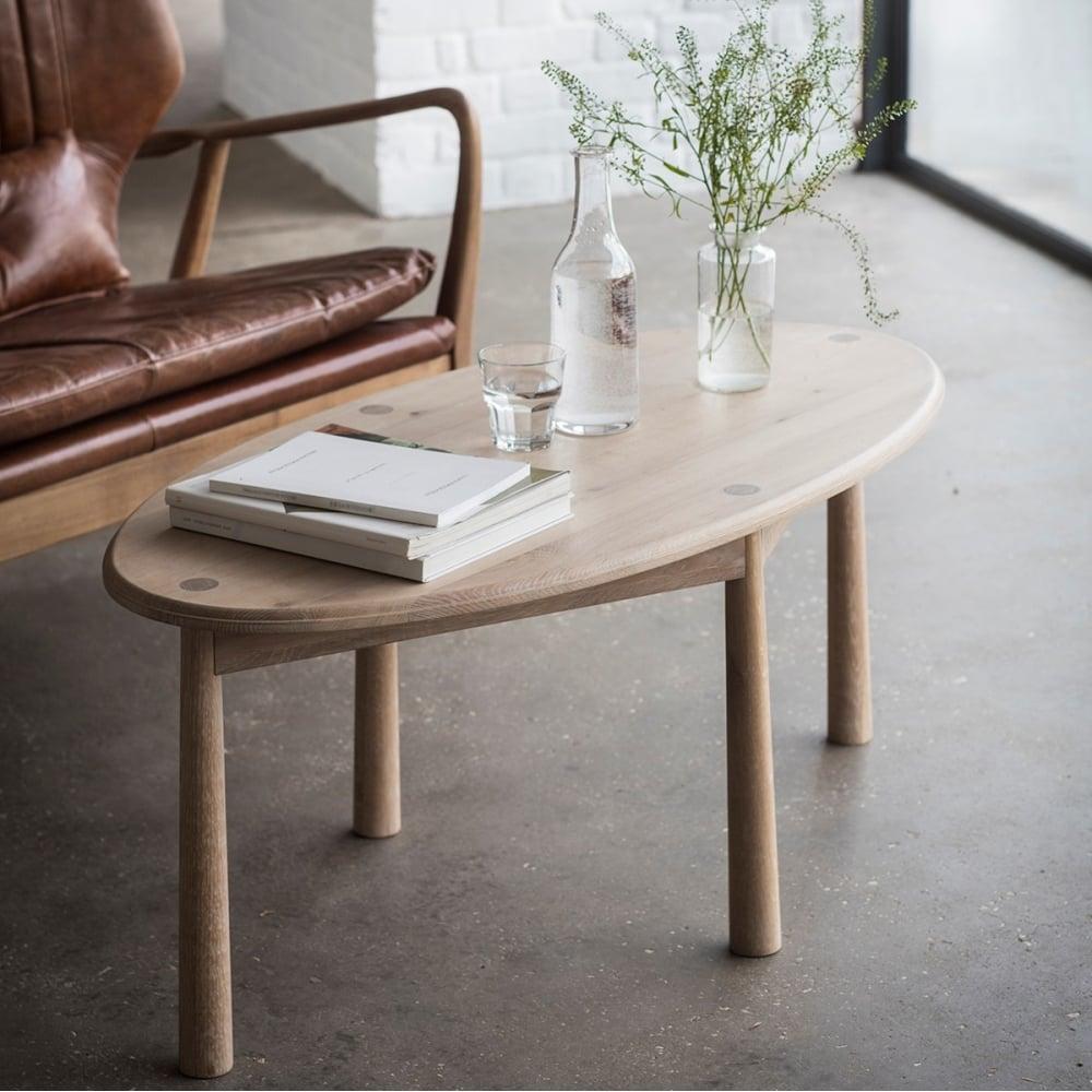 Alpine Oval Oak Coffee Table Modern Living Room Furniture