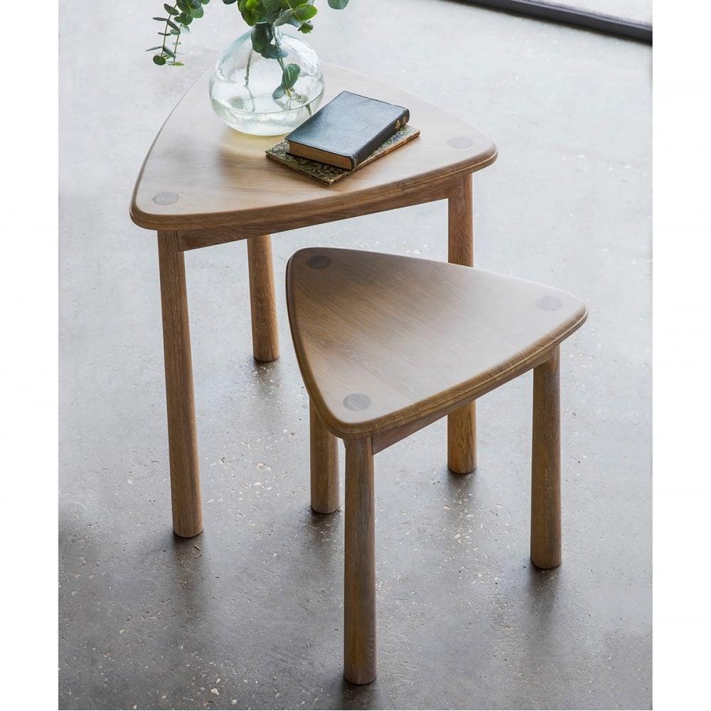 Alpine modern nest of 2 oak tables wooden coffee side for Modern side table