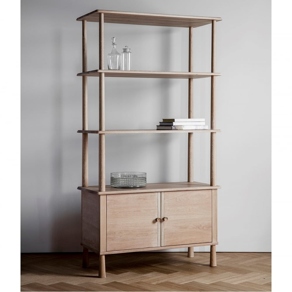 Alpine modern open display cabinet oak bookcases shelf Open shelving