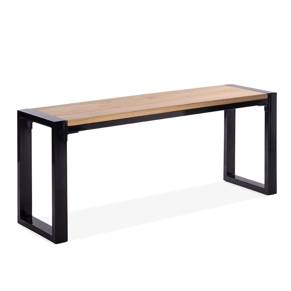 Gastro Metal Bench With Wood Seat Black 108cm Trade