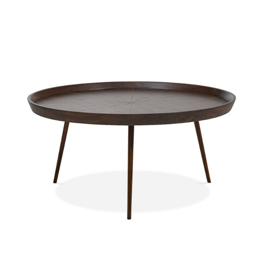 Gatsby Large Round Brown Wood Coffee Table Cult Furniture Uk