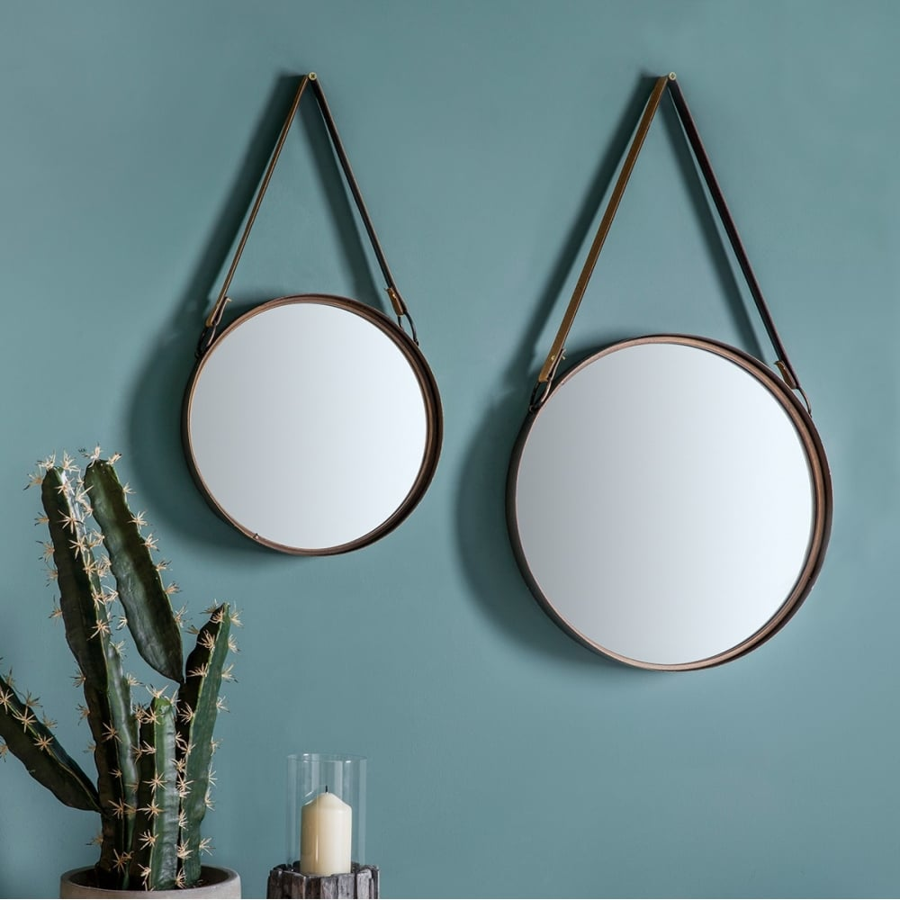 Milton set of 2 rustic hanging wall mirrors decorative for Hanging mirror