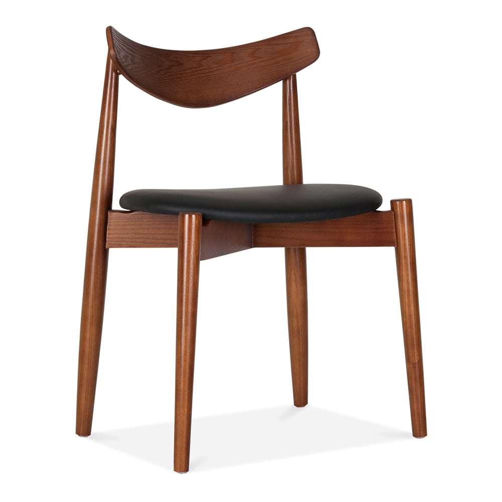 Cult design walnut wood concept dining chair with black for Wood dining chairs with leather seats