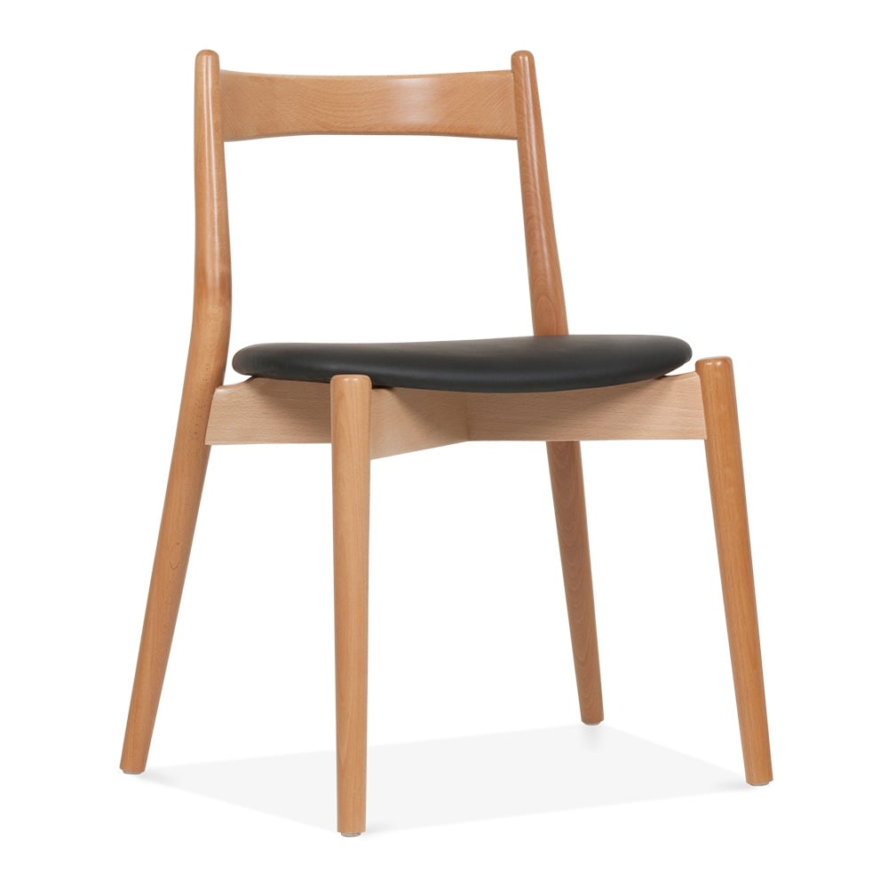 wooden chair. soho dining chair - natural / black seat wooden i