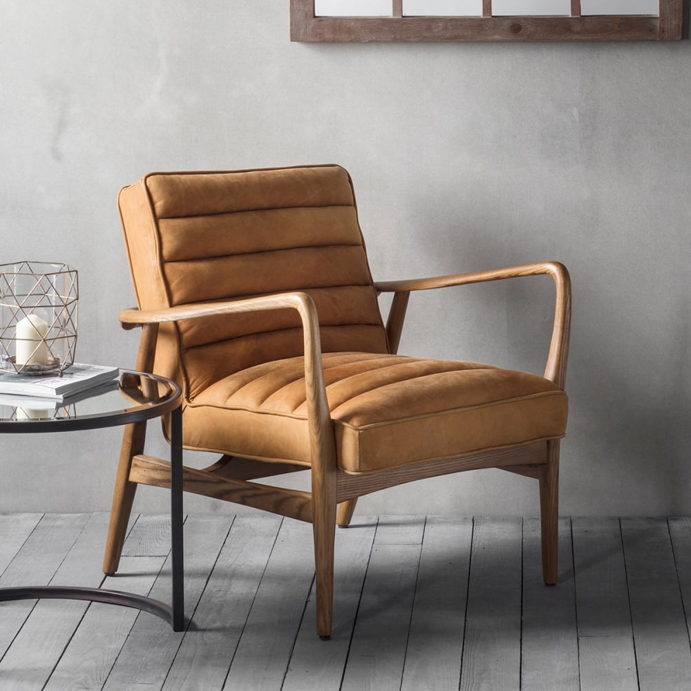Berkeley Tan Leather Upholstered Armchair Modern Home