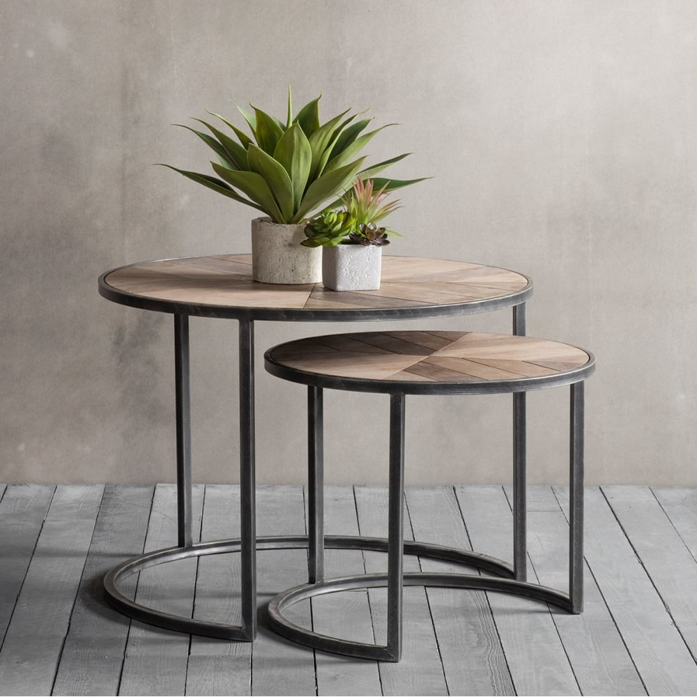 Fulton set of 2 nesting coffee tables modern side tables for Modern nesting coffee tables