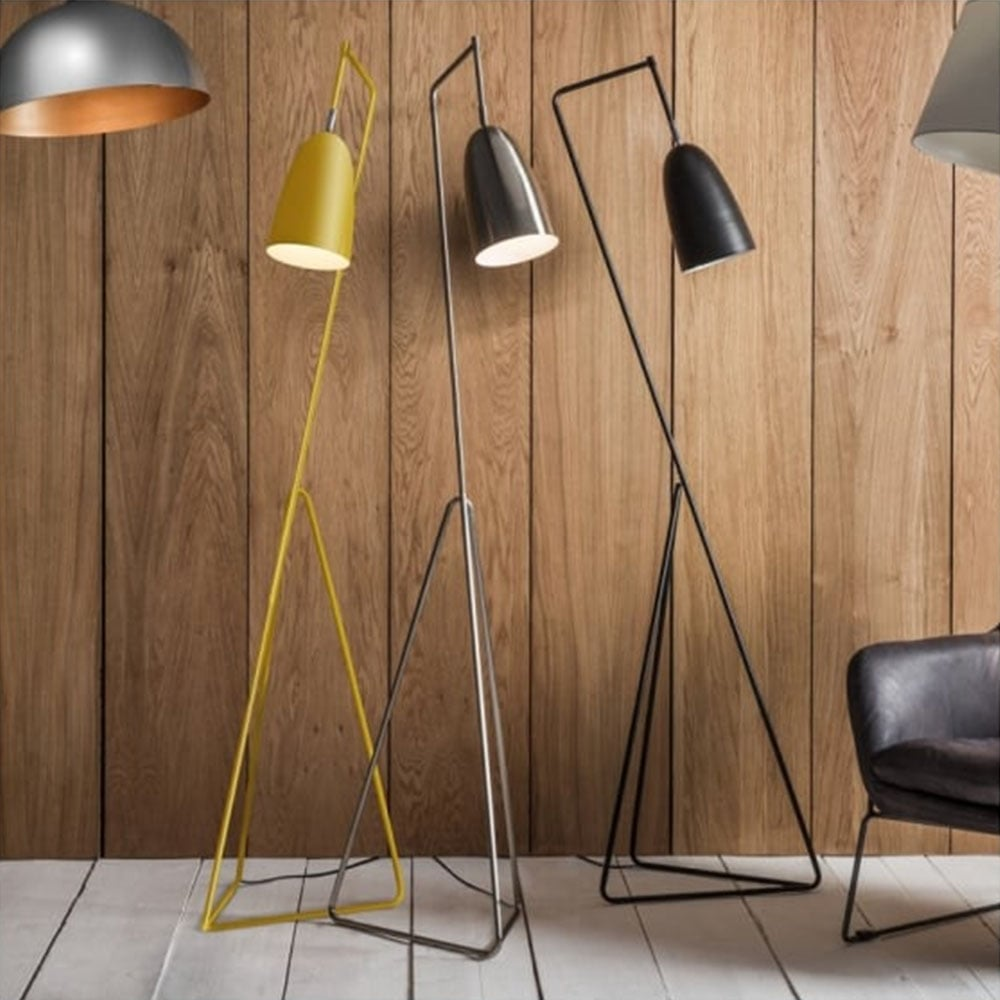 Tate Adjustable Head Floor Lamp Yellow Modern Reading Lights
