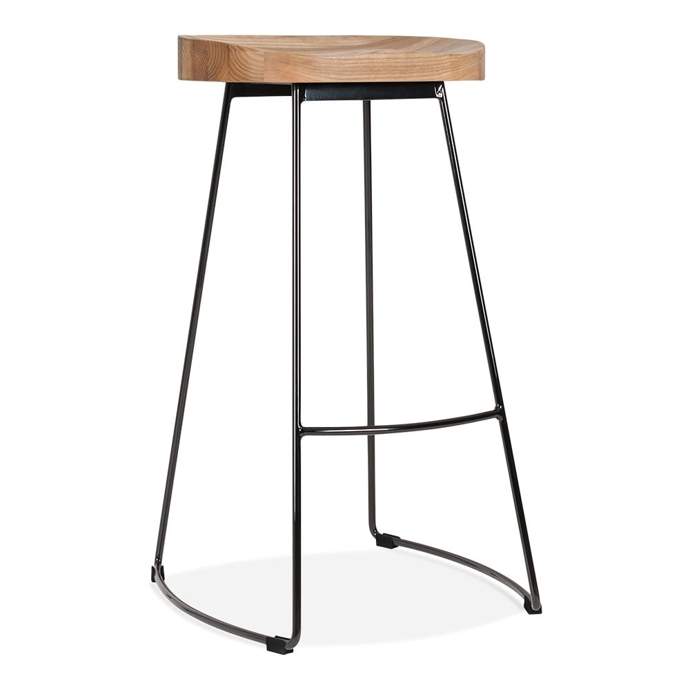 Cult Living Victoria Metal Bar Stool With Wood Seat Option Black 75cm