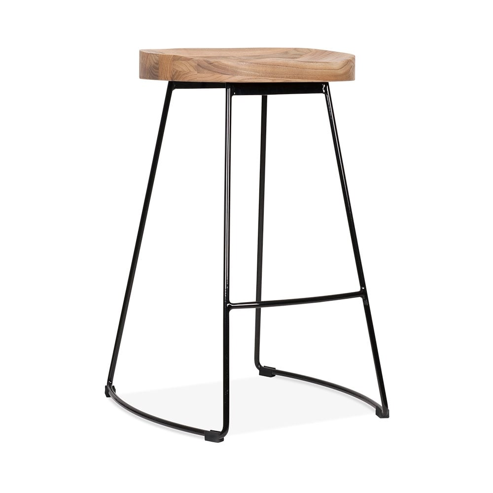 Cult Living Victoria Metal Bar Stool With Wood Seat Option   Black 65cm. U2039