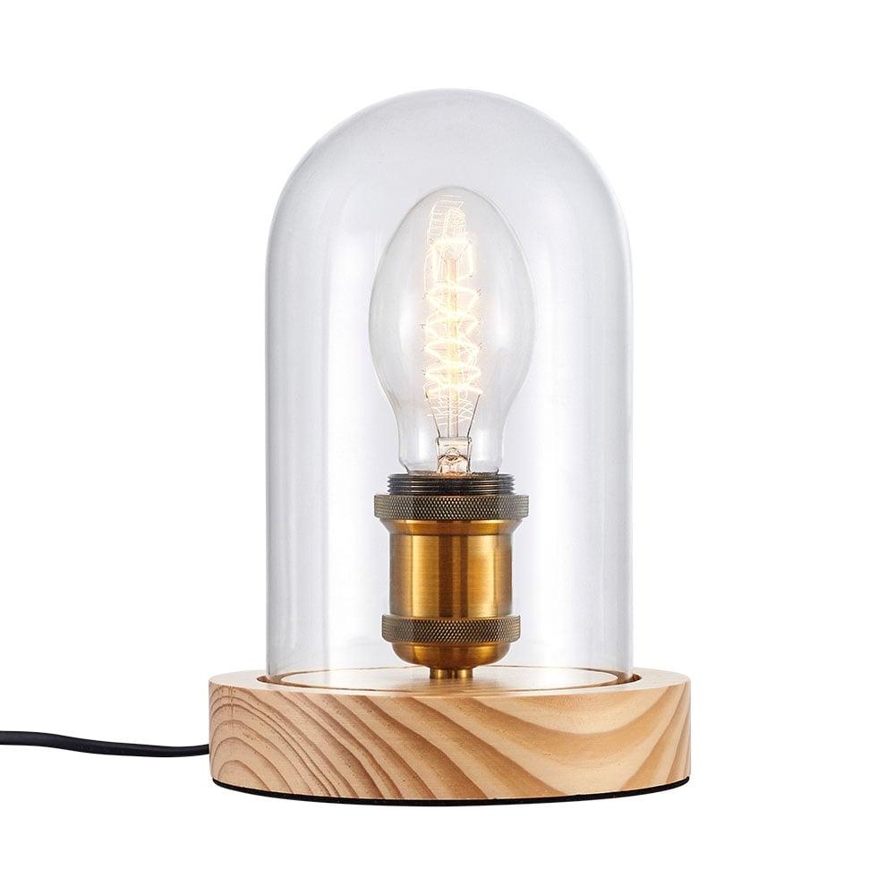 Natural Wood Knox Vintage Bell Jar Table Lamp | Industrial Lighting