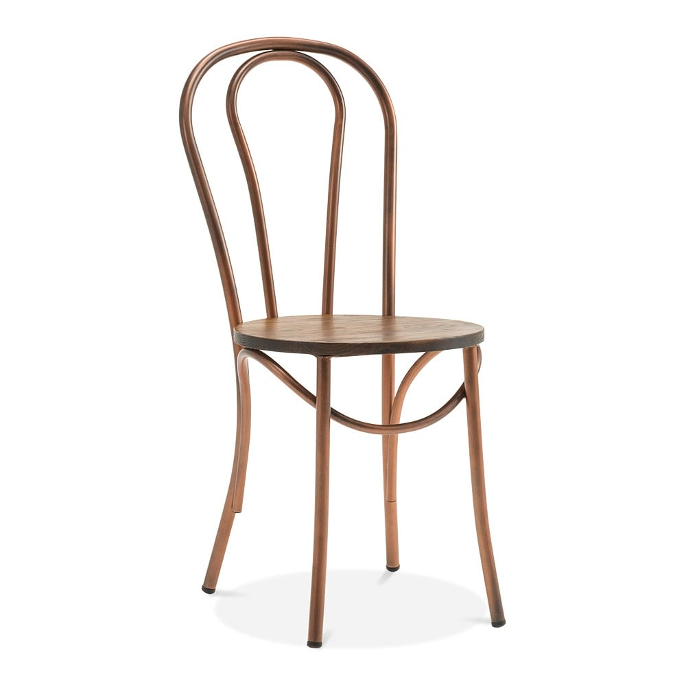 Thonet Style Metal Bistro Chair With Solid Wood Seat   Copper