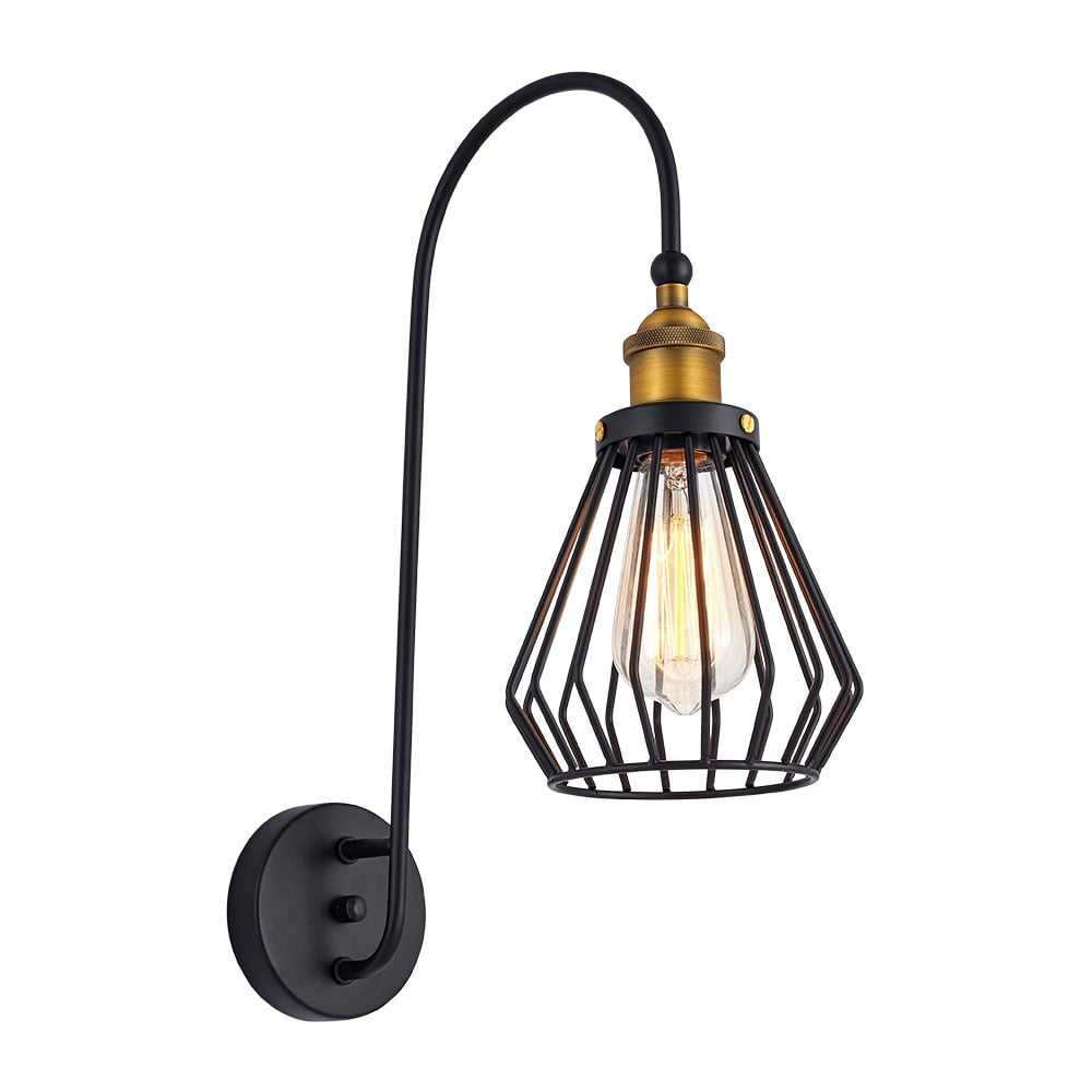Metal Industrial Wall Lights : Black Gaston Metal Cage Wall Light Industrial Wall Lighting