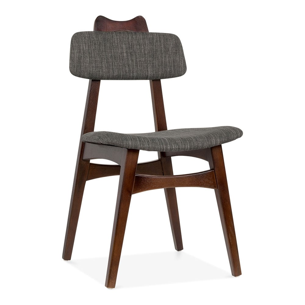 Anja ash wood chair upholstered in dark grey for Dark wood furniture