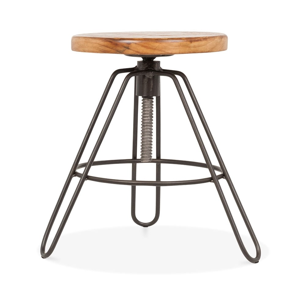 rustic hairpin clipper swivel low stool adjustable 43 55cm cult uk. Black Bedroom Furniture Sets. Home Design Ideas