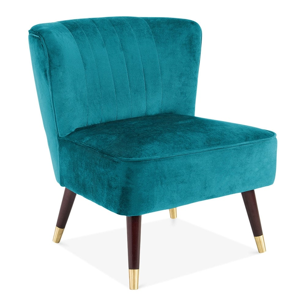Teal Velvet Upholstered Arizona Accent Chair Modern Chairs