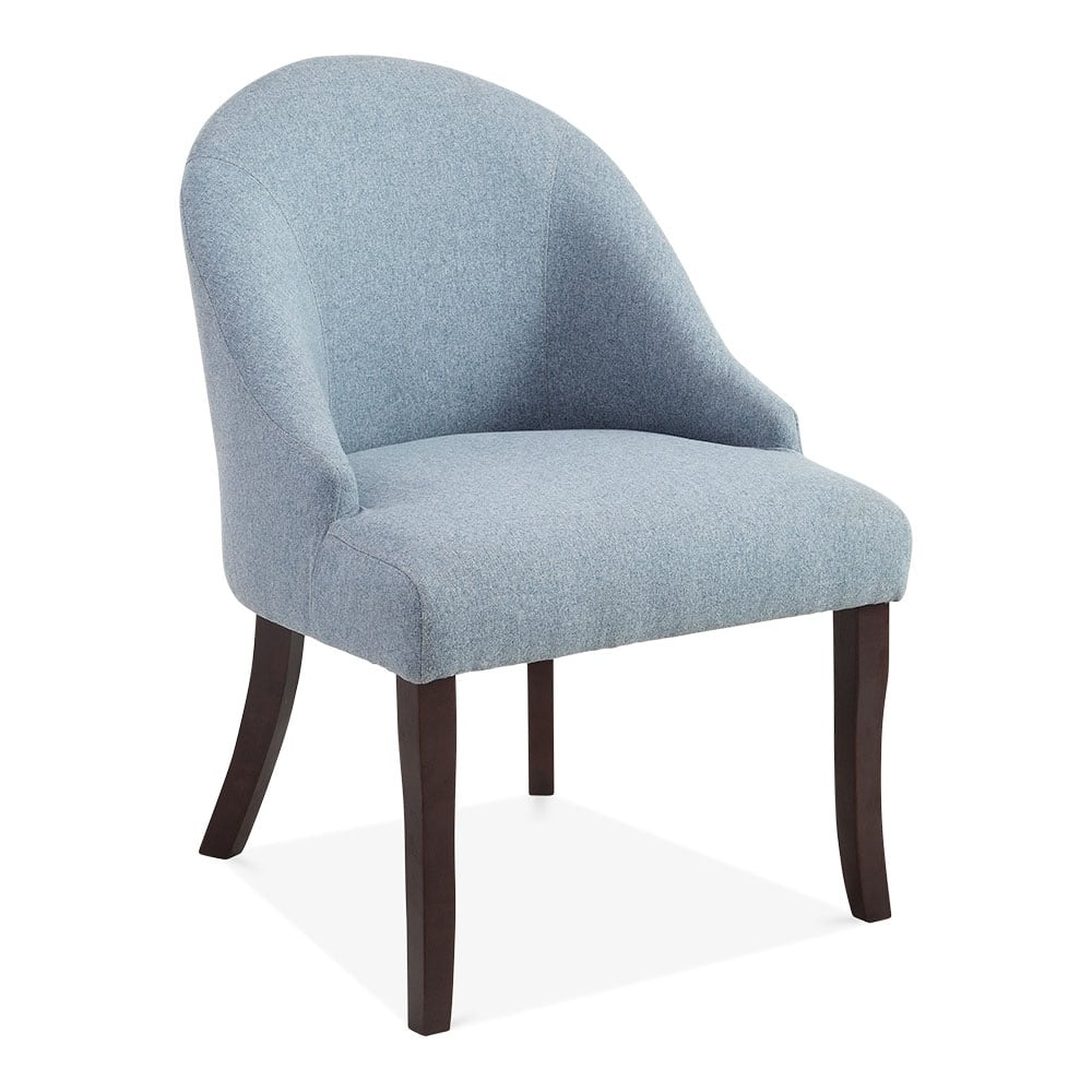Designer Accent Chairs: Blue Wool Upholstered Harlow Accent Chair