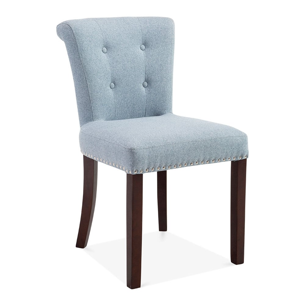 Blue wool upholstered balmoral dining chair modern for Chaise haut dossier salle a manger
