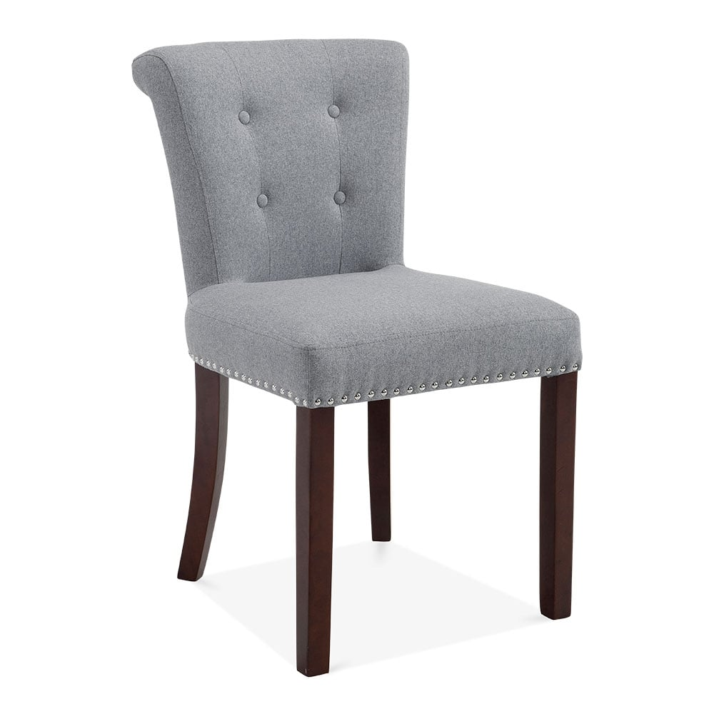 Grey wool upholstered balmoral dining chair modern for Upholstered dining chairs contemporary