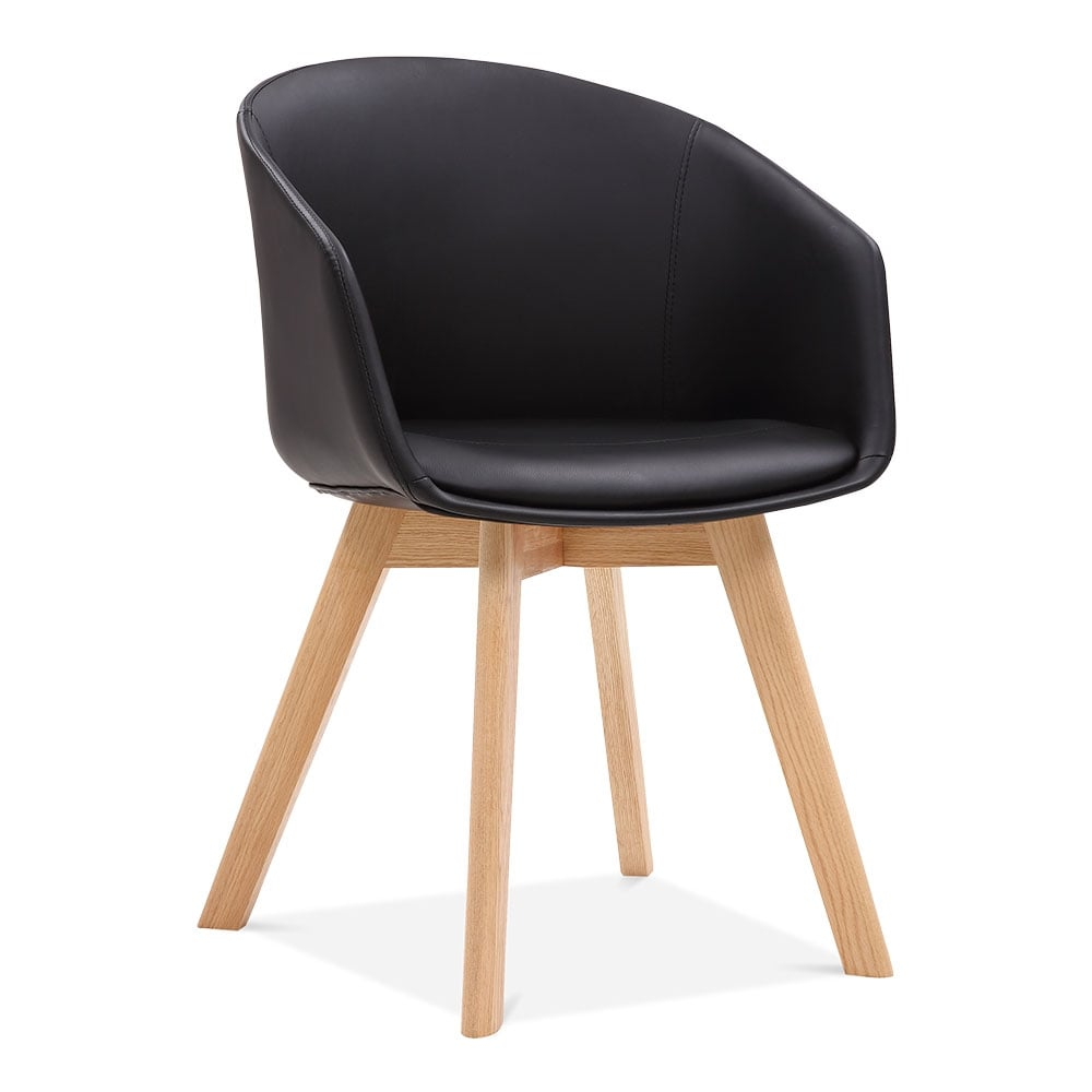 Black cohen dining armchair faux leather upholstered for Upholstered kitchen chairs