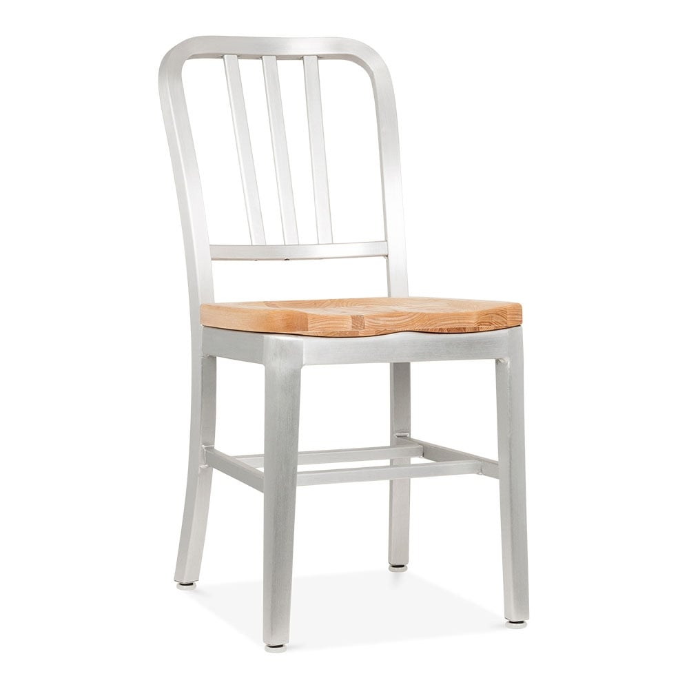 Metal navy chair 1006 silver anodized natural wood seat for Natural wood dining chairs