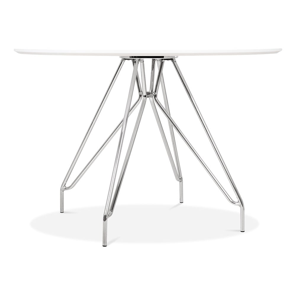 White top 110cm moda cd1 round dining table modern for 110cm round glass dining table