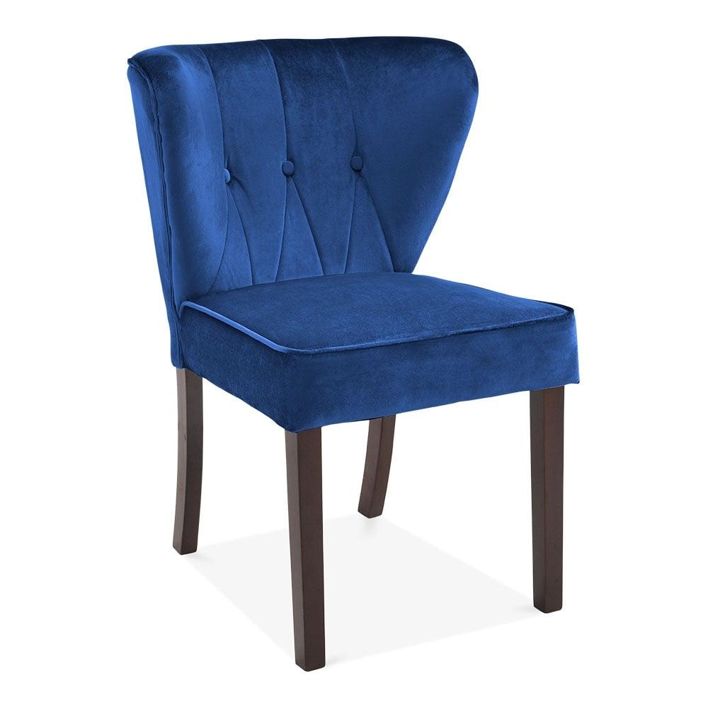 navy velvet upholstered chancery dining chair modern