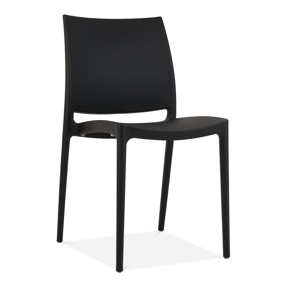 Black eden plastic outdoor chair modern garden furniture for Black plastic dining chairs