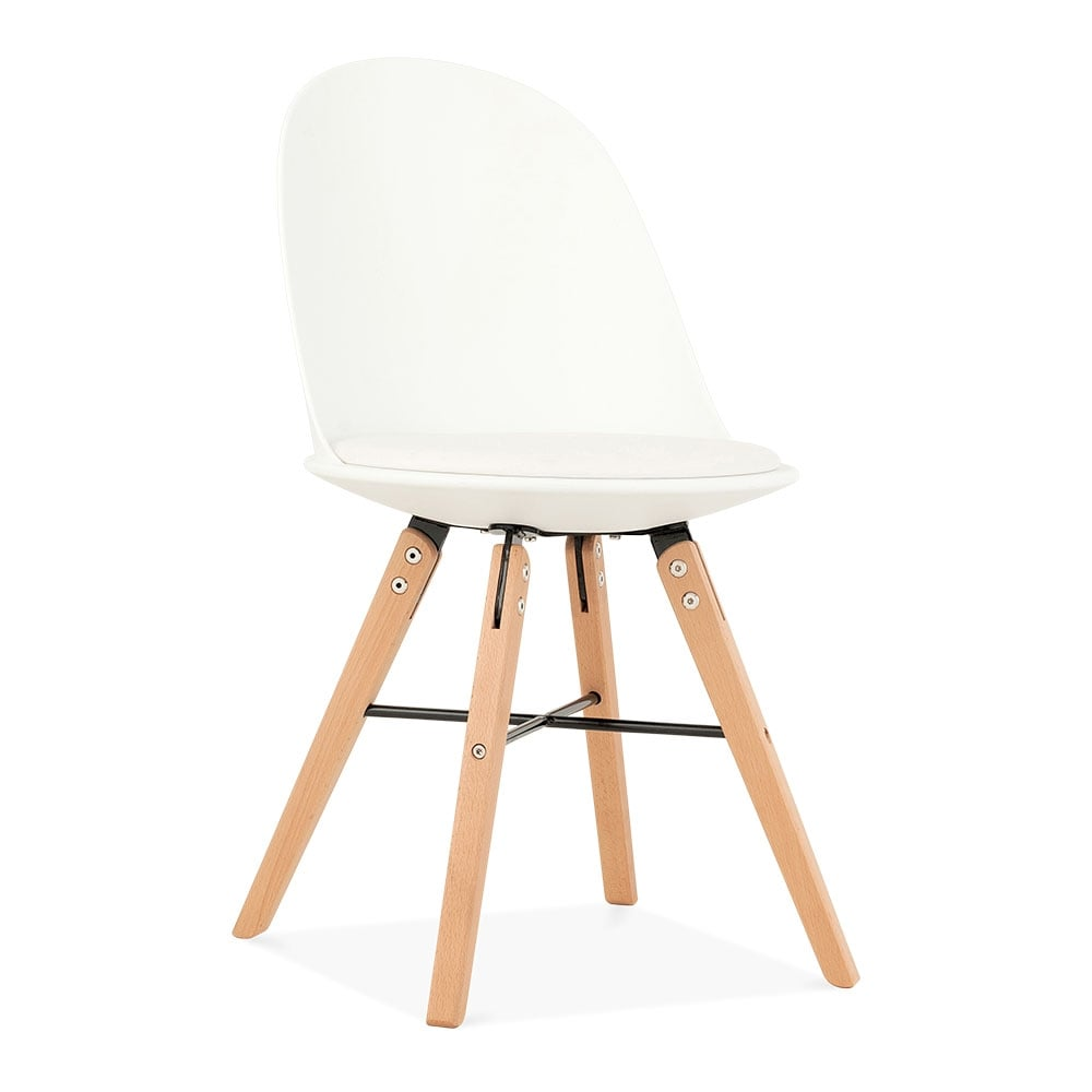 white frida plastic dining chair with seat pad modern kitchen chairs. Black Bedroom Furniture Sets. Home Design Ideas