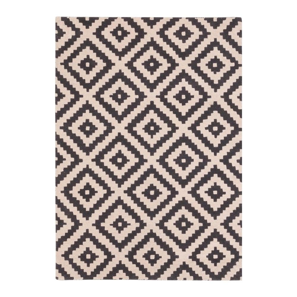 Black Diamond Aztec Hand Tufted Wool Rug Modern Floor Rugs