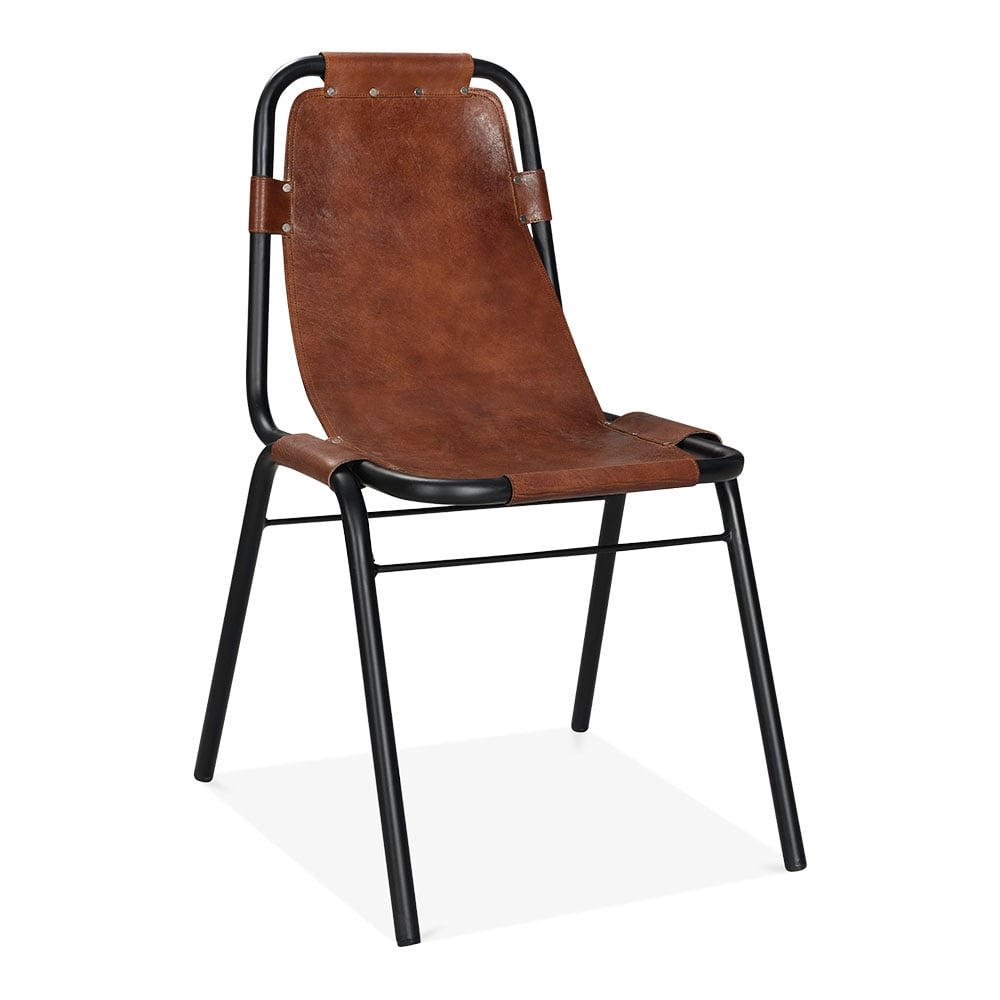 Brown Leather Mercury Metal Side Chair Industrial Dining