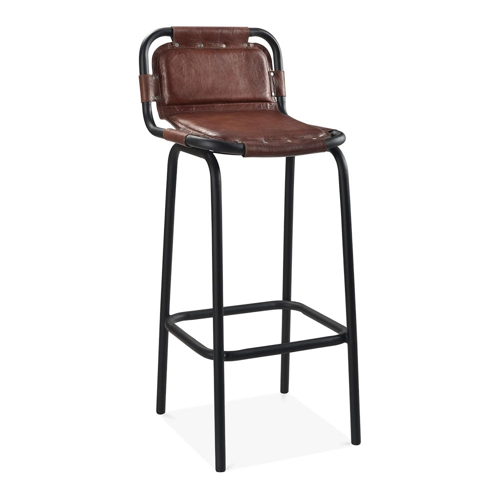 Brown leather jupiter metal bar chair industrial bar stools for Industrial style kitchen chairs