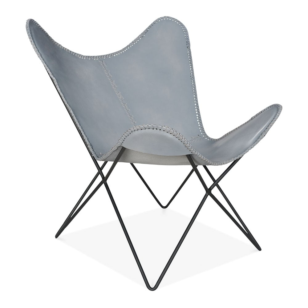 grey leather xanthe butterfly chair modern accent chairs. Black Bedroom Furniture Sets. Home Design Ideas