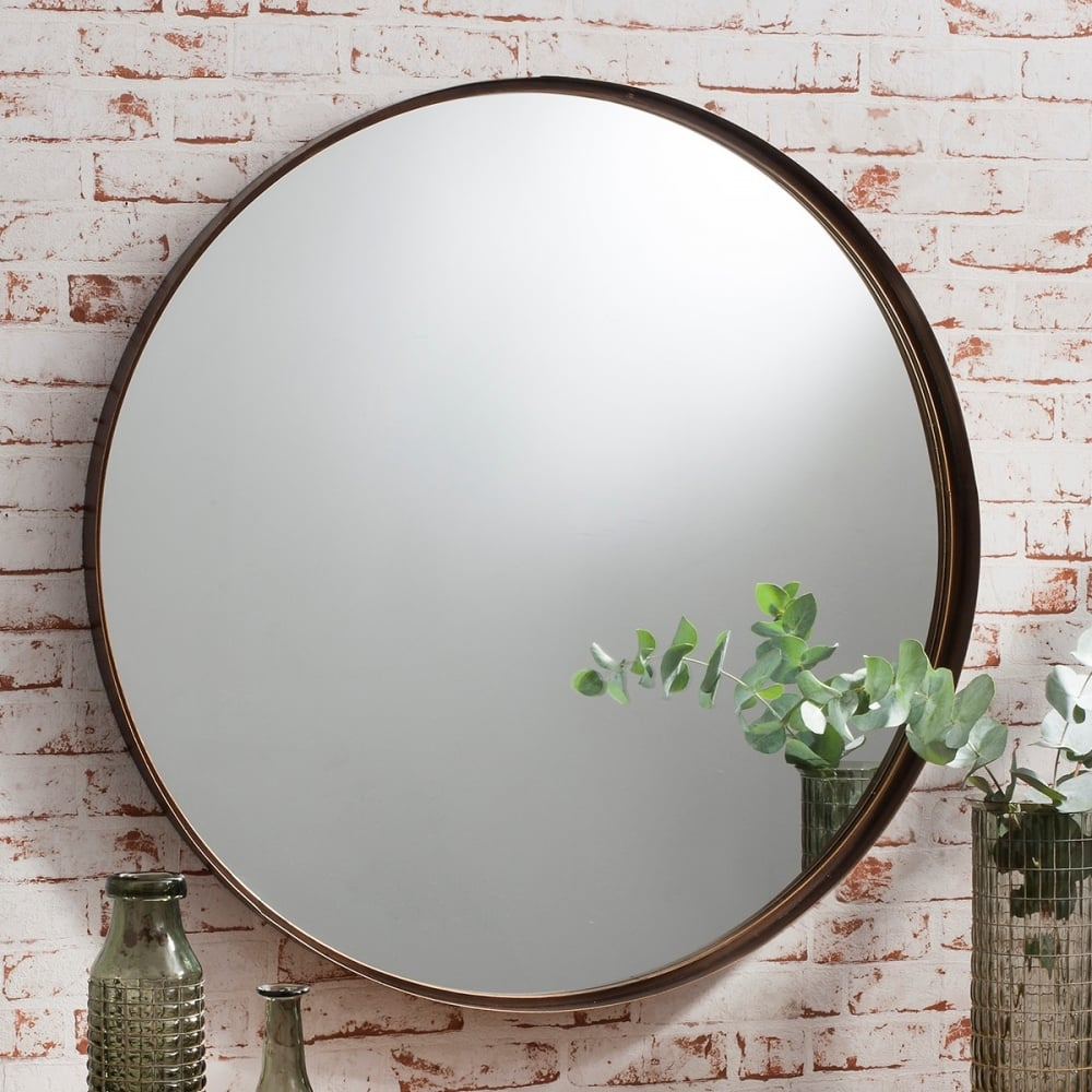 Harper large round metal wall mirror bronze cult furniture for Large round mirrors for sale