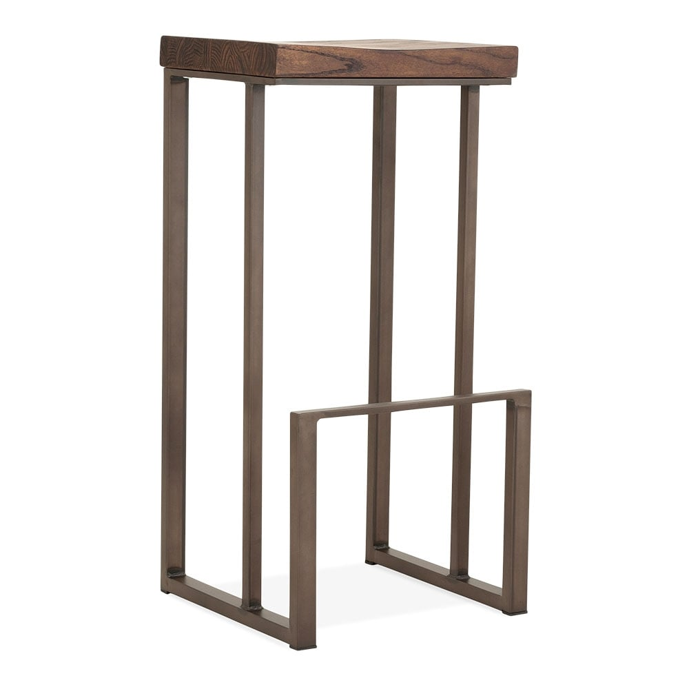 Square Bar Stools ~ Rustic cm sling square metal bar stool with dark brown