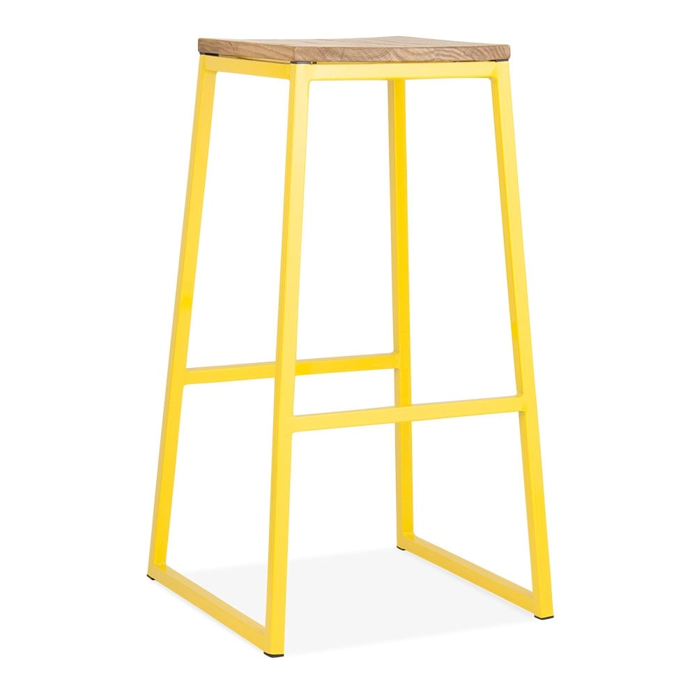 Cult Living Consec Metal Bar Stool Solid Elm Wood Yellow 75cm