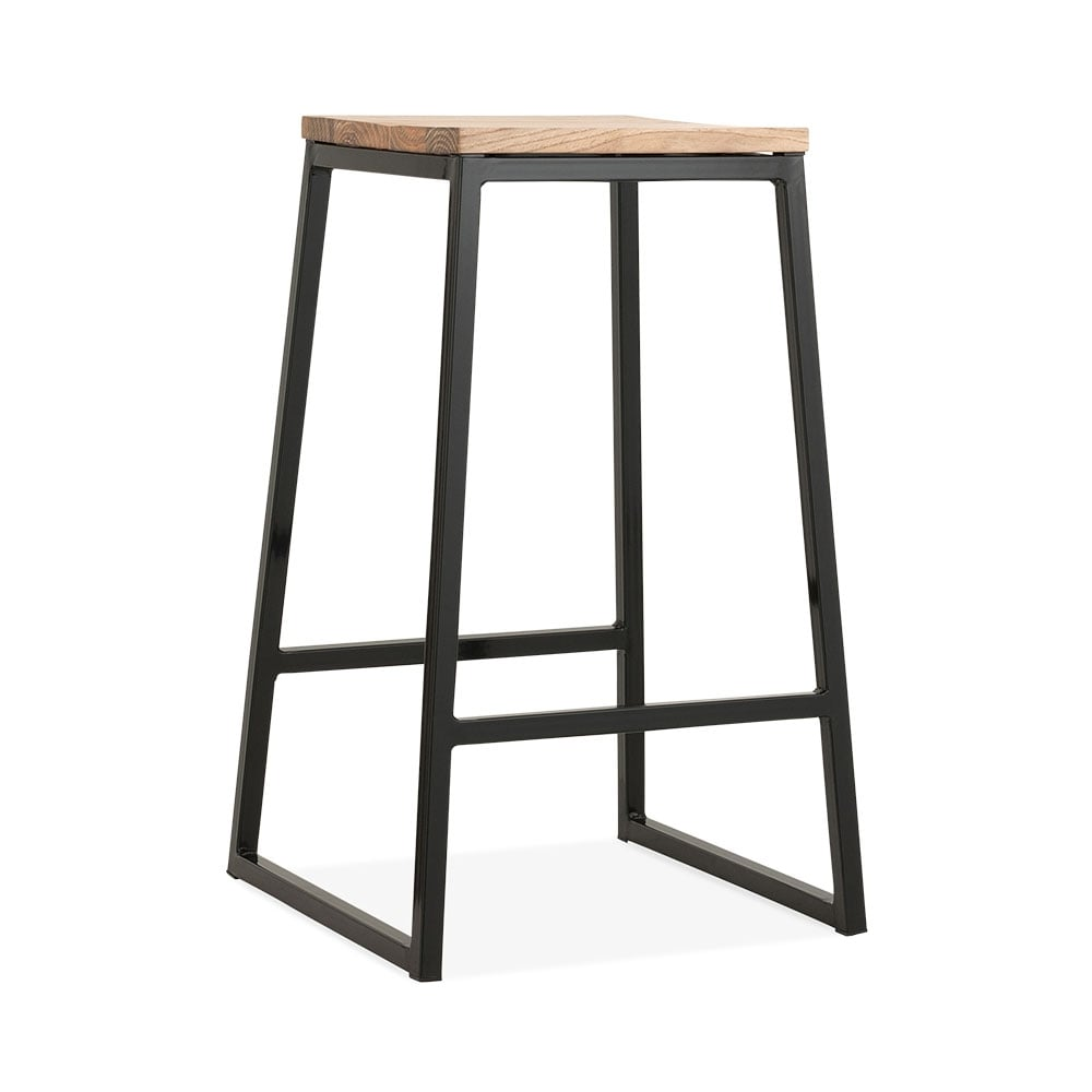 Black 65cm consec metal bar stool solid elm natural wood for Bar stools clearance