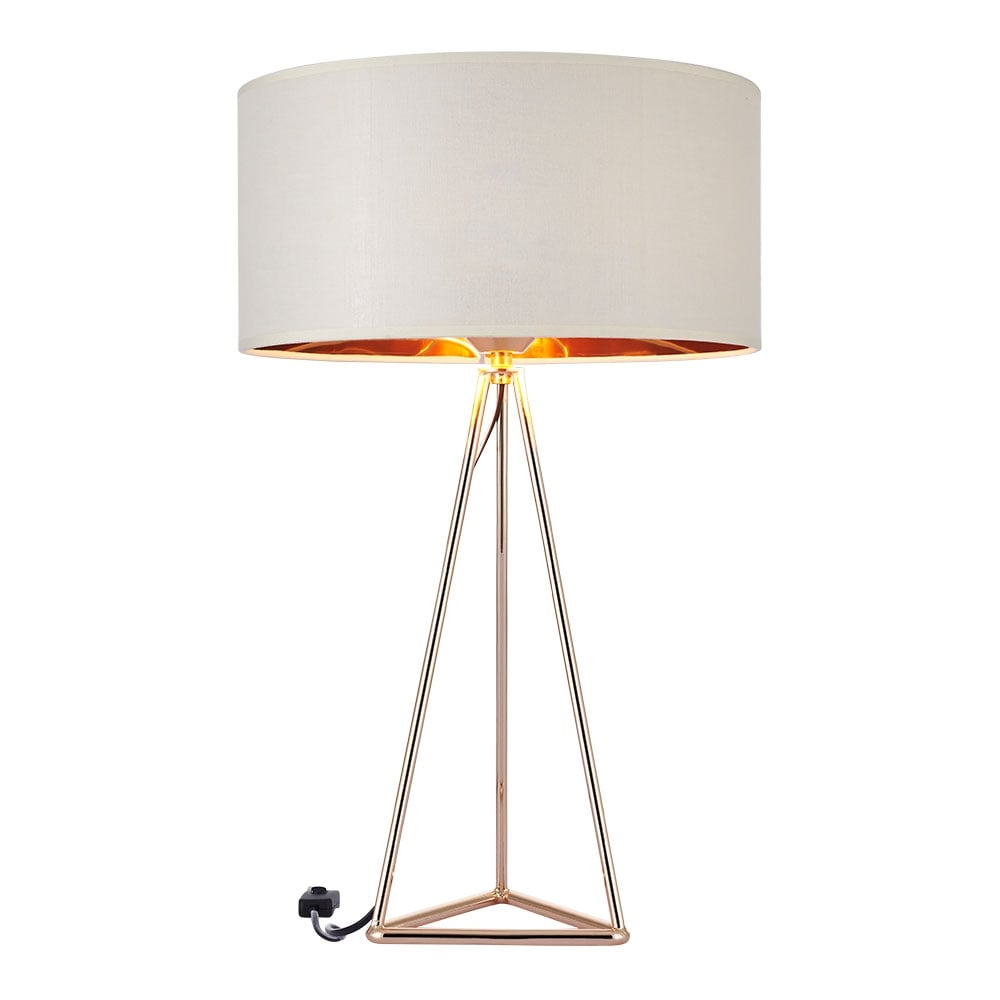 Gold and white orion tripod table lamp modern table lamps orion geometric tripod table lamp gold and white mozeypictures Gallery